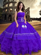 Super Purple Ball Gowns Satin and Organza Strapless Sleeveless Embroidery and Ruffles Floor Length Lace Up Quince Ball Gowns