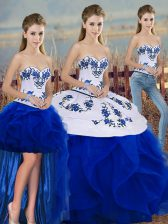Clearance Royal Blue Sleeveless Floor Length Embroidery and Ruffles and Bowknot Lace Up Sweet 16 Dresses