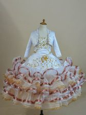 Organza Sleeveless Floor Length Little Girl Pageant Dress and Beading and Ruffled Layers