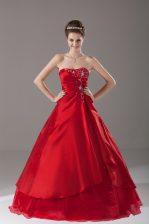 Wine Red Organza Lace Up Strapless Sleeveless Floor Length Vestidos de Quinceanera Beading