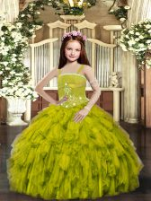 Dramatic Olive Green Tulle Lace Up Kids Pageant Dress Sleeveless Floor Length Ruffles