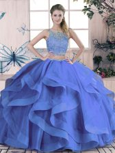 Vintage Blue Two Pieces Tulle Scoop Sleeveless Beading and Ruffles Floor Length Lace Up Quinceanera Gown