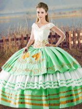 Floor Length Apple Green Quinceanera Gowns Satin Sleeveless Embroidery and Ruffled Layers