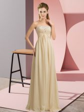 Ideal Champagne Empire Sweetheart Sleeveless Chiffon Floor Length Lace Up Beading and Ruching Prom Party Dress