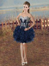 Navy Blue Lace Up Sweetheart Beading and Ruffled Layers Homecoming Dress Organza Sleeveless