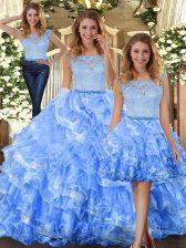 Clearance Scoop Sleeveless Zipper Quinceanera Gown Light Blue Organza