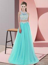 Sweet Aqua Blue Tulle Zipper Halter Top Sleeveless Floor Length Dama Dress for Quinceanera Lace