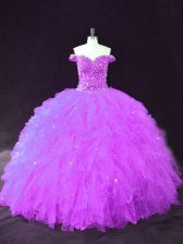 Graceful Floor Length Purple Sweet 16 Dresses Off The Shoulder Sleeveless Lace Up