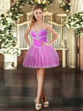 Affordable Sweetheart Sleeveless Dress for Prom Mini Length Beading and Appliques Lilac Tulle