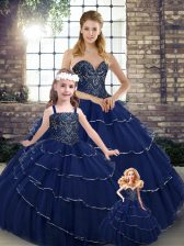 Lovely Navy Blue Sleeveless Brush Train Beading and Ruffled Layers Quinceanera Gown
