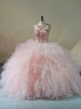 Gorgeous Pink Quinceanera Dresses Tulle Brush Train Sleeveless Beading and Ruffles