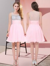 Nice Scoop Sleeveless Side Zipper Dama Dress Baby Pink Chiffon