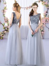 Grey Sleeveless Floor Length Appliques Lace Up Dama Dress