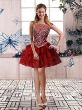 Scoop Sleeveless Zipper Prom Dresses Burgundy Tulle