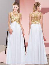 Deluxe White Scoop Neckline Beading and Appliques Dama Dress Sleeveless Zipper