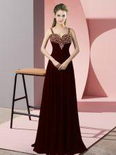 Chiffon Straps Sleeveless Zipper Beading Prom Gown in Burgundy