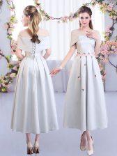 Short Sleeves Lace Up Tea Length Appliques Quinceanera Court Dresses