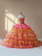 Top Selling Sweetheart Sleeveless Lace Up Quinceanera Dresses Pink Organza