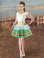 White Dress for Prom Prom and Party with Beading V-neck Sleeveless Lace Up