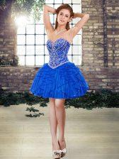 Blue Sweetheart Lace Up Beading and Ruffles Homecoming Dress Sleeveless