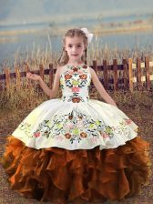 Custom Designed Rust Red Sleeveless Organza Lace Up Little Girl Pageant Dress for Wedding Party