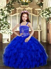 Charming Royal Blue Lace Up Little Girls Pageant Dress Wholesale Beading and Ruffles Sleeveless Floor Length