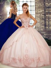 Sweetheart Sleeveless 15 Quinceanera Dress Floor Length Beading and Embroidery Pink Tulle