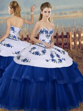 Ball Gowns Quince Ball Gowns Royal Blue Sweetheart Tulle Sleeveless Floor Length Lace Up