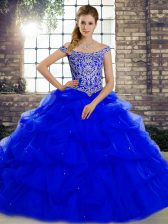 Royal Blue Off The Shoulder Lace Up Beading and Pick Ups Quinceanera Dress Brush Train Sleeveless