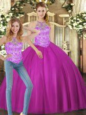 Colorful Fuchsia Halter Top Lace Up Beading Sweet 16 Dress Sleeveless