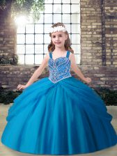 Floor Length Ball Gowns Sleeveless Blue Kids Pageant Dress Lace Up