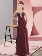 Burgundy Chiffon Zipper Evening Dress Sleeveless Floor Length Beading