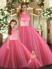 Shining Coral Red Ball Gowns Tulle Halter Top Sleeveless Beading Floor Length Backless Quinceanera Gown