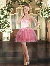 Custom Design Watermelon Red Sleeveless Beading and Appliques Mini Length Prom Dress