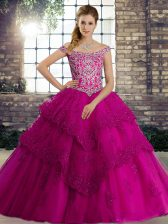 Fuchsia Off The Shoulder Lace Up Beading and Lace Quinceanera Dresses Brush Train Sleeveless