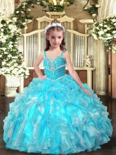 Best Organza Straps Sleeveless Lace Up Beading and Ruffles Little Girls Pageant Dress Wholesale in Aqua Blue