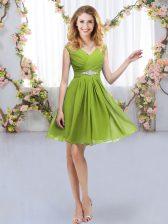 Dynamic Olive Green Sleeveless Belt Mini Length Dama Dress