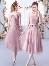 Fantastic Pink Empire Belt Quinceanera Court Dresses Lace Up Tulle Sleeveless Tea Length