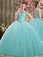 Pretty Floor Length Blue Quinceanera Gown Off The Shoulder Sleeveless Lace Up