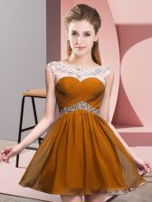 Sleeveless Mini Length Beading and Ruching Backless Prom Dresses with Brown