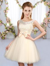 Elegant Champagne A-line Lace and Bowknot Vestidos de Damas Lace Up Tulle Sleeveless Mini Length