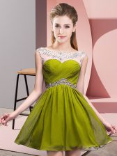 Olive Green Sleeveless Mini Length Beading and Ruching Backless Homecoming Dress