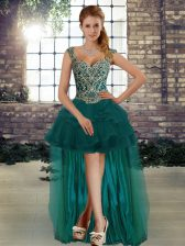 Fantastic Sleeveless High Low Beading and Ruffles Lace Up Prom Party Dress with Dark Green