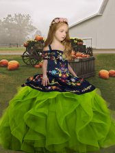 Amazing Olive Green Ball Gowns Straps Sleeveless Organza Floor Length Lace Up Embroidery and Ruffles Kids Formal Wear