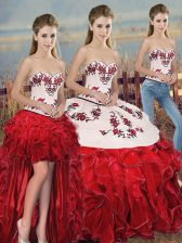 Smart Sleeveless Organza Floor Length Lace Up Sweet 16 Dress in White And Red with Embroidery and Ruffles and Bowknot