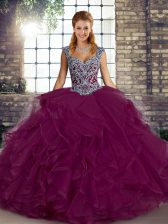 Dramatic Straps Sleeveless Quinceanera Gowns Floor Length Beading and Ruffles Fuchsia Tulle