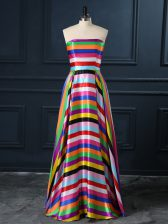 Empire Prom Party Dress Multi-color Strapless Printed Sleeveless Floor Length Zipper