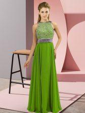 Classical Sleeveless Side Zipper Floor Length Beading Homecoming Dress