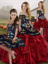 Red And Black Sleeveless Embroidery and Ruffles Floor Length 15th Birthday Dress