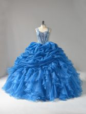 Floor Length Ball Gowns Sleeveless Blue Sweet 16 Dress Lace Up